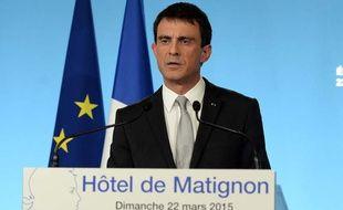 Manuel Valls a pris la parole peu après 20h, le 22 mars 2015, soir du premier tour des départementales.
