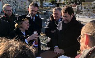 Le ministre de l'Intérieur Christophe Castaner, ici avec la préfète Michèle Kirry et le député Florian Bachelier lors de la pose de la première pierre de la future préfecture à Rennes.
