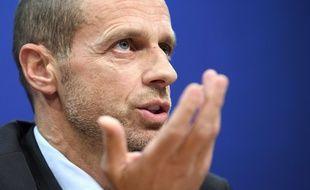 Aleksander Ceferin, le président de l'UEFA, lors d'une conférence de presse à Nyon le 7 décembre 2017.
