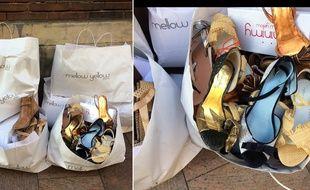 Des chaussures Mellow Yellow neuves, lacérées et abandonnées devant un magasin de la marque.