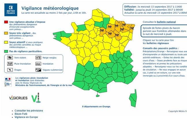 Huit départements du Nord-Est en vigilance orange