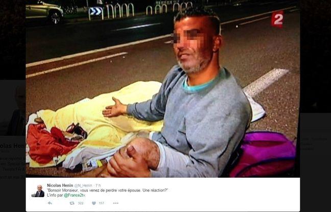 Tweet du journaliste Nicolas Henin. «20 Minutes» a flouté l'image de l'homme interviewé.