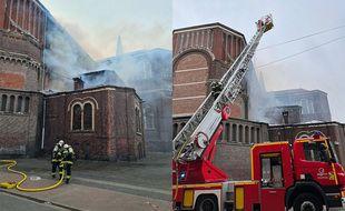 Les pompiers au travail pour circonscrire le feu.