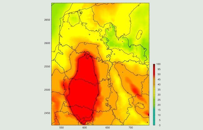 Simulation de la concentration en particules fines PM10 pour le 7 décembre 2016, en µg/m³