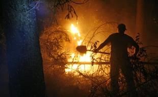 Un volontaire tente d'éteindre un feu de forêt, près de Moscou, le 13 août 2010.