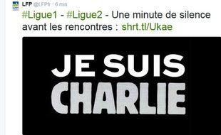 Le compte twitter de la LFP annonçant une minute de silence lors des matchs de L1 et de L2 en soutient à «Charlie Hebdo», le 7 janvier 2015.