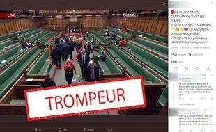 Le 1er décembre, quand a été prise cette capture d'écran, le port du masque n'était pas obligatoire au sein de la Chambre des Communes.