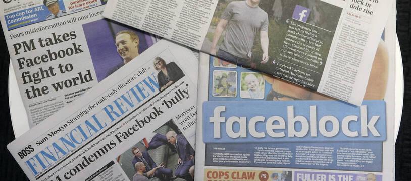 Les unes de la presse australienne le 19 février 2021 après le blocage des contenus d'actualité par Facebook.