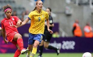 Kosovare Asllani, nouveau recrue du PSG, sous les couleurs de l'équipe de Suède le 31 juillet 2012 à Newcastle.