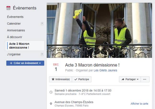 L'appel à manifester sur Facebook.