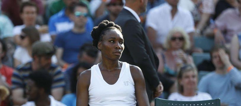 La championne de tennis américaine Venus Williams lors du tournoi de Wimbledon à Londres le 5 juillet 2017.