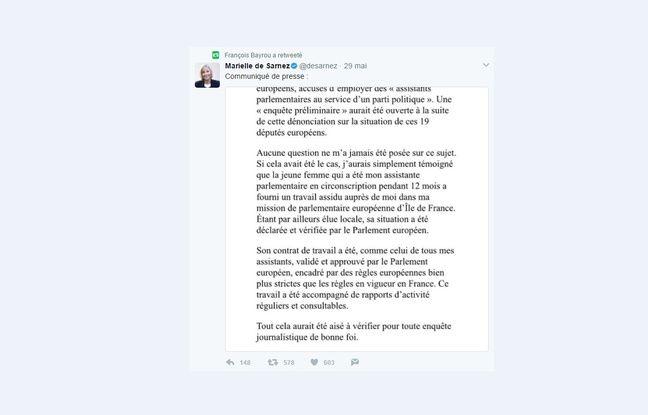 François Bayrou a retweeté le communiqué de défense de Marielle de Sarnez