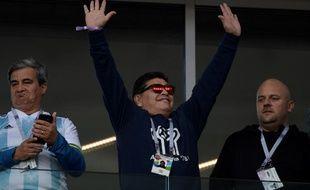 Diego Maradona en tribunes pour encourager l'Argentine.