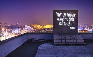 Les projections des phrases de Soprano par Philippe Echaroux.