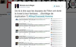 Capture d'écran de messages #StopChasseàLHomme diffusés massiment sur Twitter par les équipes de François Fillon.