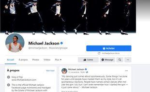 Capture d'écran de la page artiste Facebook de Michael Jackson