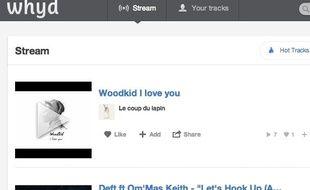 Page d'accueil de Whyd, le Pinterest de la musique.
