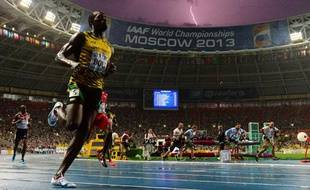 Usain Bolt, le 11 août 2013, aux Mondiaux d'athlétisme.