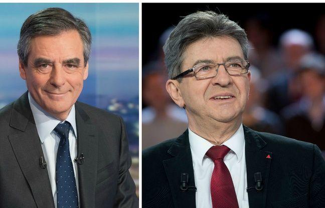 Collage 20 Minutes/SIPA des candidats François Fillon (Les Républicains) et Jean-Luc Mélenchon (France insoumise)