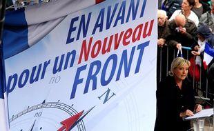 Une affiche du Front National et Marine Le Pen, lors d'un meeting (illustration).