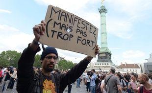 Manifestation contre le projet de loi Travail, le 23 juin 2016, place de la Bastille, à Paris.