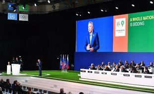 Le président du comité de candidature marocain Moulay Hafid Elalamy face au congrès de la Fifa