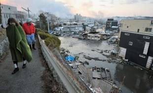 La ville côtière de Kesen Numa, au nord-est du Japon, le 12 mars 2011, au lendemain du tsunami qui a ravagé la région.