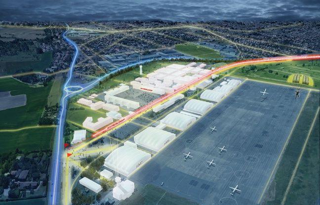 Image de synthèse de la piste d'essai Hyperloop à Francazal.