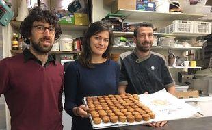 De gauche à droite, Franck Wallet, Laurie Tisnerat, et le boulanger François Mateus.