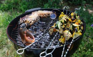 Des brochettes de légumes sur un barbecue. Ne tenez pas compte du homard, cet article n'en parle pas. (illustration)