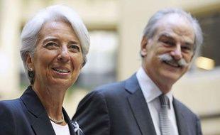 La directrice du FMI, Christine Lagarde, avec le directeur par intérim, John Lipsky, le 5 juillet 2011 à Washington.