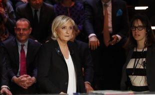 Marine Le Pen lors du premier débat télévisé sur TF1.