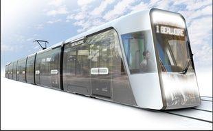 Image de synthèse du futur tramway nantais (à partir de 2022).