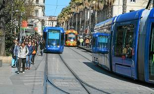 Le tramway, à Montpellier.