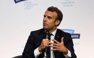 Emmanuel Macron en déplacement à Marseille pour le sommet des deux rives.
