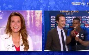 Paul Pogba a confondu Anne-Claire Coudray et Anne-Sophie Lapix, dimanche soir après le succès des Bleus.