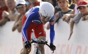 La cycliste française, Jeannie Longo, lors des championnats du monde du contre-la-montre, en Suisse, le 23 septembre 2009.