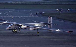 L'avion Solar Impulse à l'aéroport de Nagoya, au Japon, le 24 juin 2015.