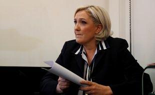 Marine Le Pen en conférence de presse le 2 mai 2017, à Paris.