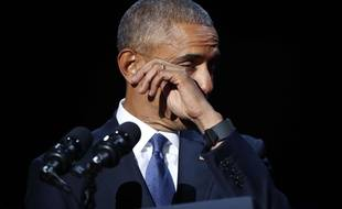 Les larmes de Barack Obama pour son discours d'adieu à l'Amérique, le 10 janvier 2017 à Chicago.