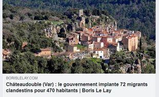 La publication Facebook de Boris annonçant l'arrivée de « migrants clandestins » à Châteaudouble (Var).