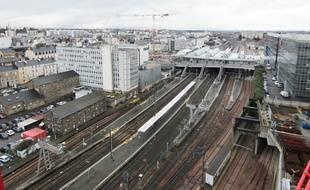 Vue sur la gare de Rennes depuis l'un des trois immeubles Identity construit par le groupe immobilier Giboire, dans le quartier EuroRennes.