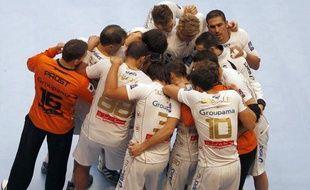 Les joueurs du club de handball de Montpellier, lors d'un match de LNH à Paris contre le PSG hand, le 30 septembre 2012.