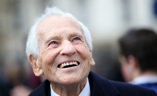 L'académicien Jean d'Ormesson le 17 janvier 2014 à Paris lors de l'inauguration de la place en l'honneur de Maurice Druon.