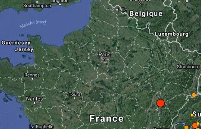 Capture d'écran du site du réseau national de surveillance de l'activité sismique
