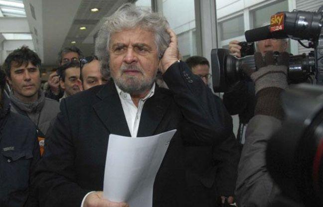 Beppe Grillo, du mouvement 5 étoiles, le 25 janvier 2013 à Sienne (Italie).