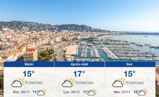 Météo Cannes: Prévisions du samedi 24 novembre 2018