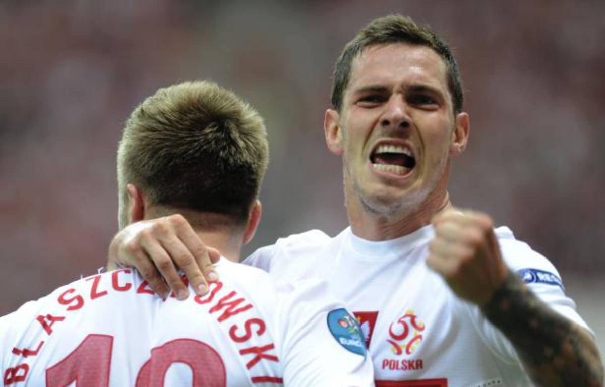 Les joueurs polonais Blaszczykowski et Obraniak (à dr.) lors du match de l'Euro contre la Grèce, le 8 juin 2012. – P.Ulatowski/REUTERS