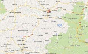 Capture d'écran google map de Rodez (Aveyron).