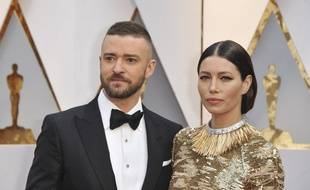 L'artiste Justin Timberlake et sa femme, l'actrice Jessica Biel, aux Oscars